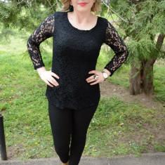 Bluza rafinata de ocazie cu maneca lunga, din dantela neagra (Culoare: NEGRU, Marime: 44) - Bluza dama