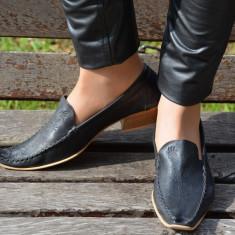 Pantof negru din piele, toc gros de inaltime medie, varf ascutit (Culoare: NEGRU, Marime: 39) - Pantof dama