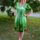 Rochie eleganta, nuanta de verde, cu design de perle aplicate (Culoare: VERDE, Marime: 44) - Rochie ocazie, Scurta, Voal