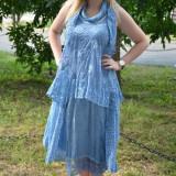 Rochie tinereasca de vara, albastra, cu croiala lejera, din bumbac (Culoare: ALBASTRU, Marime: 52)