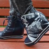 Pantof sport cu platforma ascunsa, bleumarin cu design interesant (Culoare: BLEUMARIN, Marime: 37) - Pantof barbat