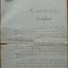 Certificat Catargi, semnat de P. P. Carp si Al. Lahovary, 1889, masonerie - Autograf