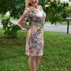 Rochie eleganta cu model deosebit multicolor cu curea aplicata (Culoare: MULTICOLOR, Marime: 48) - Rochie de zi, Scurta, Poliester