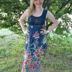Rochie comoda din bumbac, nuanta bleumarin cu dantela in fata (Culoare: BLEUMARIN, Marime: 36)