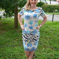 Rochie de zi masura mare, imprimeu floral de nuanta albastra (Culoare: ALBASTRU, Marime: 50), Scurta, Poliester