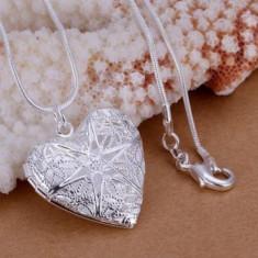 Colier cu pandativ inima pt poze, placat cu argint - Colier argint
