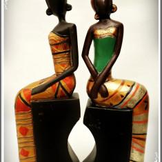 PERECHE 2 OPRITOARE / SUPORTURI VECHI DE CĂRȚI PT. BIBLIOTECĂ, NEGRESE DIN LEMN! - Arta din Africa