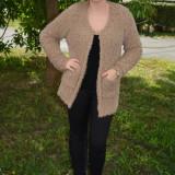 Cardigan tricotat cu maneca lunga, material pufos de nuanta bej (Culoare: BEJ, Marime: 42) - Bluza dama