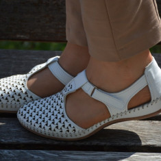 Sanda tip balerin, piele naturala alba, bareta cu scai pete picior (Culoare: ALB, Marime: 37)