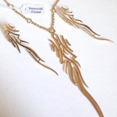 Set bijuterii dama-lantisor+ pandantiv+ cercei -placat cu Aur 18k-GRAVAT