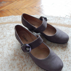 Pantofi dama GABOR de piele - Pantof dama Gabor, Culoare: Gri, Marime: 39, Cu talpa joasa