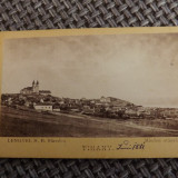 Fotografie de la 1881.Vedere generala a orasului Unguresc,Tihany., Alb-Negru, Cladiri, Europa