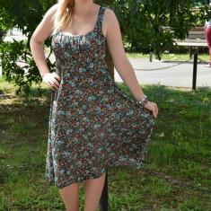 Rochie trendy cu bretele, design multicolor, model pentru vara (Culoare: MULTICOLOR, Marime: 46) - Rochie de zi, Bumbac