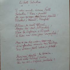 Poezie in manuscris, Victor Eftimiu ; Lui Gala Galaction, 1954, mason, aroman - Autograf