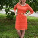Rochie tinereasca, scurta, dantela nuanta corai, masura mare (Culoare: CORAI, Marime: 46) - Rochie ocazie