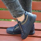 Pantof confortabil de nuanta bleumarin cu insertie de lant auriu (Culoare: BLEUMARIN, Marime: 38) - Pantofi barbat