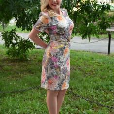 Rochie eleganta cu model deosebit multicolor cu curea aplicata (Culoare: MULTICOLOR, Marime: 50) - Rochie de zi, Scurta, Poliester