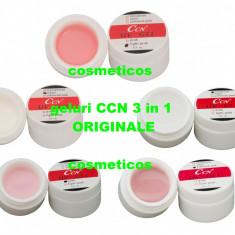 Set 5 geluri uv CCN ORIGINALE 3in1 | Gel white/ transparent/pink/cover- pensule - Gel unghii Canni, Gel de constructie