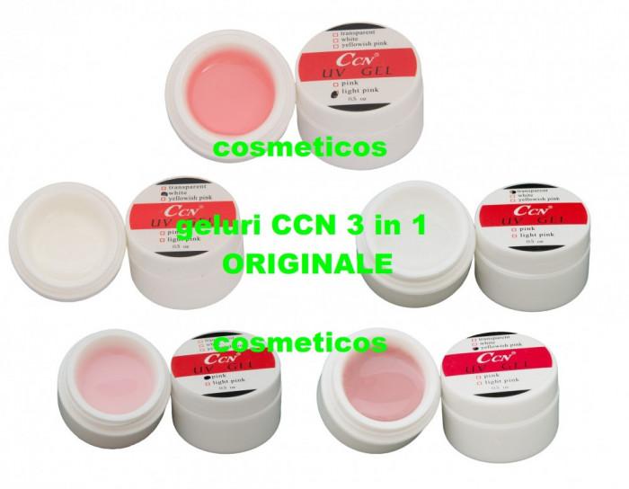 Set 5 geluri uv CCN ORIGINALE 3in1 | Gel white/ transparent/pink/cover- pensule