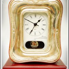 CEAS VECHI DE MASĂ DIN LEMN CU PENDULĂ ȘI RAMĂ DIN ARGINT. 925, FLORENCE ITALY! - Ceas de masa
