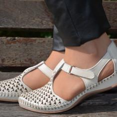 Balerin de vara din piele naturala de nuanta bej, cu perforatii (Culoare: BEJ, Marime: 37) - Sandale dama