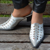 Papuc alb, clasic, cu varf ascutit si toc gros de inaltime medie (Culoare: ALB, Marime: 39) - Papuci dama