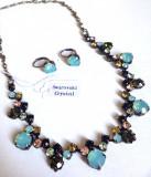 OFERTA-Set bijuterii dama- cristale ZIRCONIU MULTICOLORE (colier+ cercei)