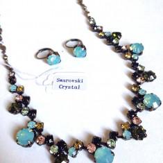 Set bijuterii cristale ZIRCONIU MULTICOLORE (colier+ cercei)---TRANSPORT 5 LEI