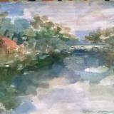PEISAJ PARCUL CAROL (LANGA LAC) - Pictor roman, Peisaje, Acuarela, Impresionism