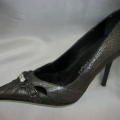 Pantof de gala, nuanta de gri, toc subtire rafinat (Culoare: GRI, Marime: 38) - Pantof dama