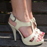 Sanda fashion de culoare bej, model clasic cu platforma inalta (Culoare: BEJ, Marime: 38)