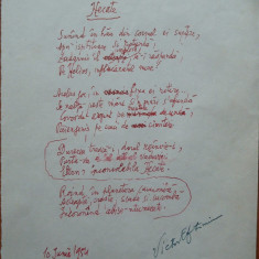 Poezie in manuscris, Victor Eftimiu ; Hecate, 1954, mason, aroman - Autograf