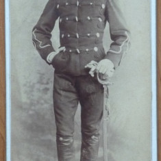Foto pe carton gros, Mihai Filliti in uniforma militara, 1891, semnata - Fotografie veche