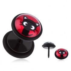 Plug fals pentru ureche din oţel - pisicuţă pe un fond roşu