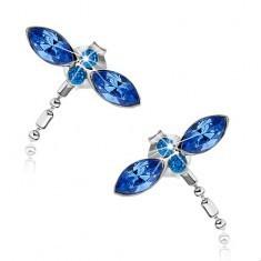 Cercei cu șurub din argint 925, libelulă cu aripi albastre, cristale Swarovski - Cercei argint