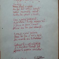 Manuscris, Victor Eftimiu ;In orice zi, o noua parasire, 1954, mason, aroman - Autograf