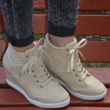 Adidas cu platforma comoda, nuanta de crem, strasuri aurii (Culoare: CREM, Marime: 38) - Adidasi dama