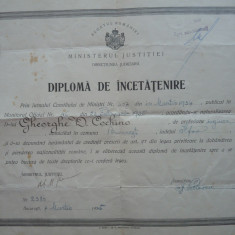 Diploma de Incetatenire, 1935 - Diploma/Certificat