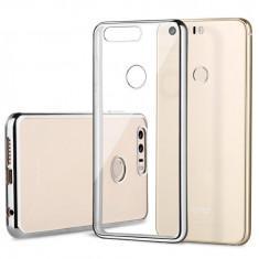 Husa HUAWEI Honor 8 TPU Margine Gri - Husa Telefon Huawei, Transparent, Gel TPU, Fara snur, Carcasa