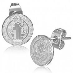 Cercei din oţel - închidere cu şurub, cercuri cu St. Benedict - Cercei inox
