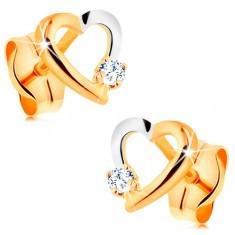 Cercei cu șurub realizați din aur de 14K - contur bicolor de inimă cu zirconiu mic - Cercei aur