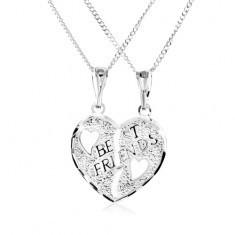 Colier realizat din argint 925 - pandantiv dublu, inimi frânte, inscripție BEST FRIENDS