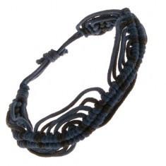 Brățară împletită albastru cu negru realizată din șnururi, model ondulat - Bratara prieteniei