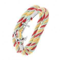 Brățară împletită, șnururi colorate, ancoră de navă de culoare argintie - Bratara prieteniei