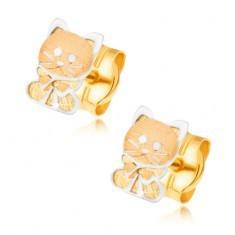 Cercei din aur 585 - două pisicuțe cu fundă - Cercei aur