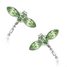 Cercei realizați din argint 925, libelulă cu aripi verzi, cristale Swarovski - Cercei argint