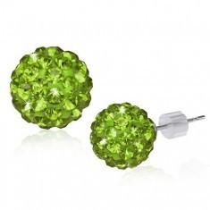 Cercei Shamballa – bile verzi cu zircon strălucitor, 10 mm - Bratara din margele