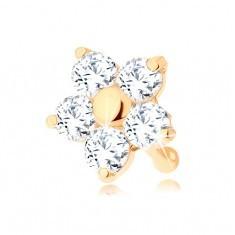 Piercing pentru nas din aur 585 - drept, floare cu zirconiu transparent, sclipitor