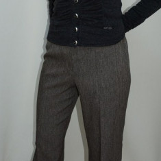 Pantalon dama, nuanta de maro, elastic in talie (Culoare: MARO, Marime: 46) - Pantaloni dama