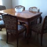 Sufragerie baroc lemn masiv, furnir de nuc, decor sculptat manual
